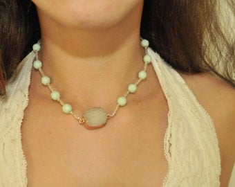Grey Stone Beaded Necklace