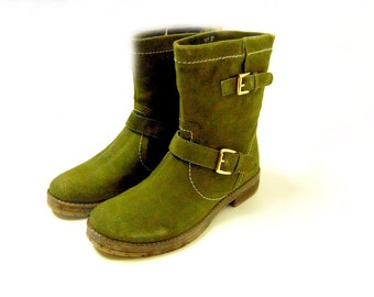 Boots suede,bike boots,woman gift,olive color, casual, high quality,leather boots ,womans shoes,womans boots