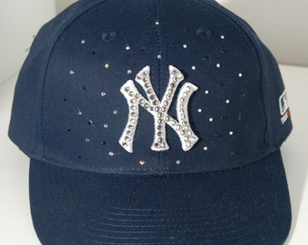 NY Yankees hat with Swarovski crystals