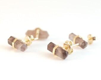 Smoky Quartz Earring Studs Gold | Smoky Quartz Earrings | Boho Earrings | Bohemian Studs | Gift For Girlfriend | Druzy Studs | For Her