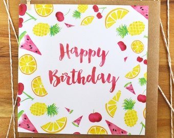 Fruit Salad Happy Birthday Greeting Card