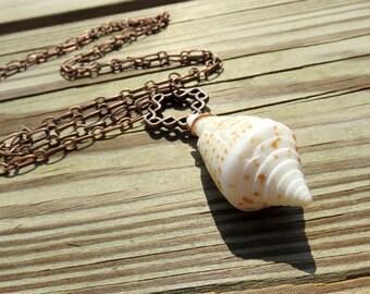 Florida Cone Shell Necklace // Copper Seashell Necklace // Copper Beach Jewelry