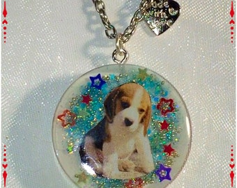 Resin pendant necklace, cute puppy