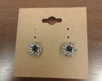 Silver Flower Studded Earrings with Black Crystal