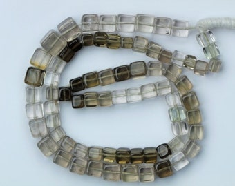 AAA+ quality gemstone 16 inch long strand of SMOKY 3D cubes Size: 3.5 x 4 -- 6.6 x 7 mm
