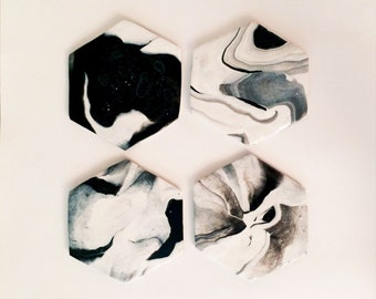 Black and White Clay Marble Coasters | Classic Collection