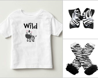 Wild Zebra Toddler Tee, Leg Warmer, and Bow Set, Wild Zebra Tee, Zebra Bow, Zebra Leg Warmers, Wild Zebra Outfit, Zebra Toddler Outfit