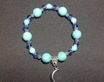 Faux turquoise moon charm bracelet