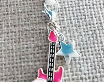 Rock star guitar mobile phone charms