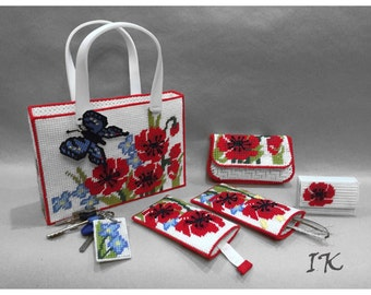 Red poppies tote