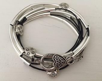 Black silver tube wrap bracelet silver tube bracelet stackable bracelet gift for her
