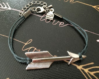 Dark gray adjustable arrow cord bracelet waxed cotton cord bracelet cord bracelet stackable bracelet gift for her friendship bracelet