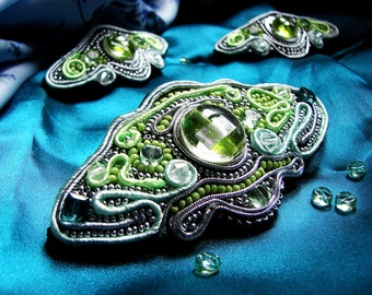 Set of pins Lake butterfly soutache