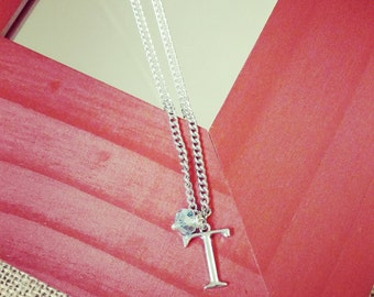 Birthstone and Initial Silver Necklace