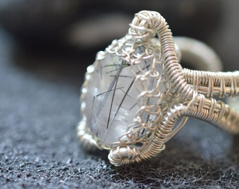 Tourmaline quartz 925 silver wire ring