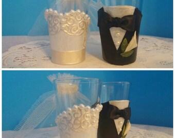 Handmade Bride & Groom Shot Glasses