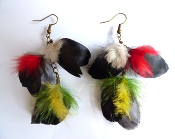 Earrings colorful feathers - jewelry natural feather and chains - rock - elegant - women gift - Brazil