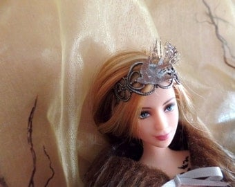 Dove bird and feather renaissance goth distressed headband fascinator crown made in USA for Ever After Monster High Barbie fashion dolls