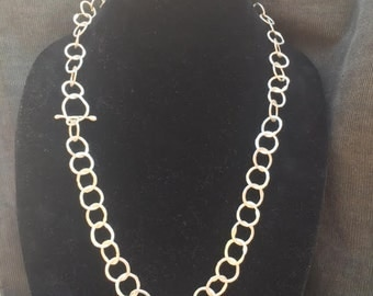 Hammered Fine silver necklace