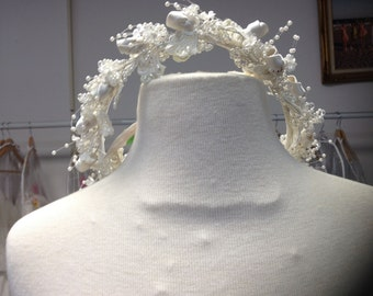 1990's Vintage Lace and Sequin Headpiece, Tiara, Ivory