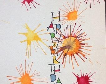 Bursting with Happy Birthday - BLANK INSIDE