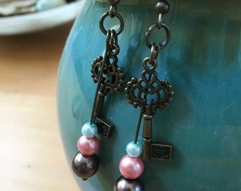Handmade, Boho, Industrial, Steampunk, Bronze, Key Charm with Pink, Brown, and Sky Blue Glass Pearls, Dangle, Drop, Earring Set
