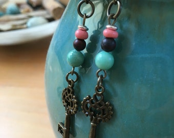 Handmade, Boho, Industrial, Steampunk, Bronze, Key, Charm, Dangle, Drop, Earrings with Turquoise and Salmon Beads