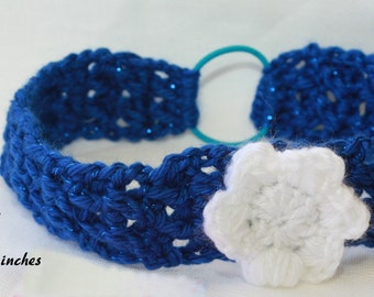 headband blue with flower that will fit a toddler