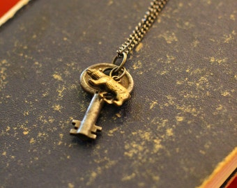 Antique Key and Bear Charm