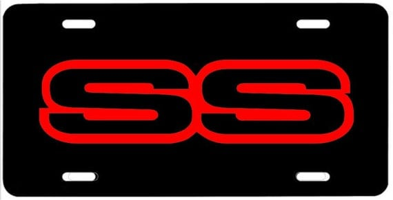 Ss Metal License Plate 1g Red Emblem Camaro Impala Trailblazer