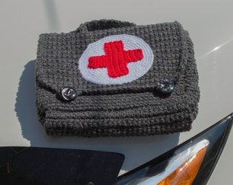 Crocheted Vintage Style First Aid Bag