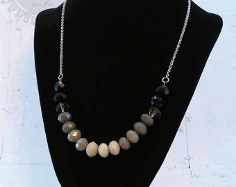 Gray to black ombre statement necklace