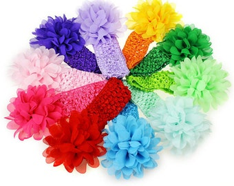 10 Pieces Crochet Headband chiffon flowers for Infant Baby Girl. 10 Colors