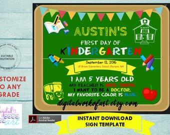 First Day of School Chalkboard Sign Template, Back to School Sign, 1st Grade, Any Grade Printable, Digital Instant Download, Poster Photo