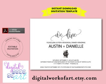 Rehearsal Dinner Invitation Template, Rehearsal Dinner Invitation Printable, Wedding Rehearsal Invitation,  PDF Instant Download, We Dine