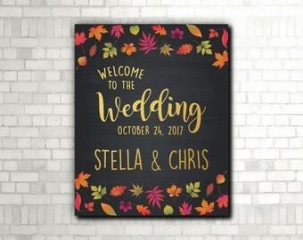 Fall Wedding Welcome Chalkboard Sign, Fall Wedding Printable, Fall Leaves, Autumn Wedding Printable, Fall Wedding Welcome Print - (D093)