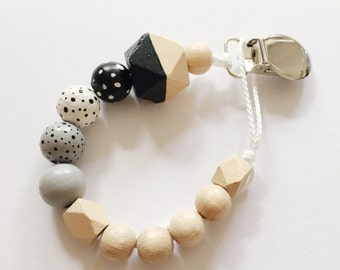 Dots > hand-painted Soother chain with geometric wooden beads - black, white, grey