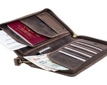 Visconti travel wallet - Wing - Oiled BROWN Leather