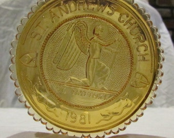 Vintage Pairpoint Cup Plate - St. Andrew's Church, New Bedford, MA