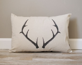 Deer Antler Pillow | Rustic Pillow | Personalized Gift | Monogrammed Gift | Rustic Home Decor | Home Decor | Housewarming Gift