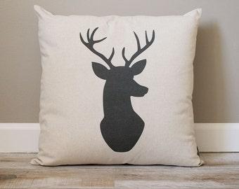 Deer Head Pillow | Rustic Pillow | Black Deer Head Pillow | Monogrammed Gift | Rustic Home Decor | Home Decor | Housewarming Gift