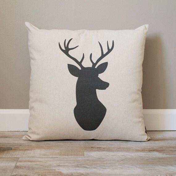 Deer Head Pillow Rustic Pillow Black Deer Head Pillow