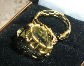 Wire wrapped Ring (Citrine Ring)