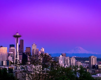 Seattle Skyline And Mt. Rainier At Sunset - Free Domestic Shipping