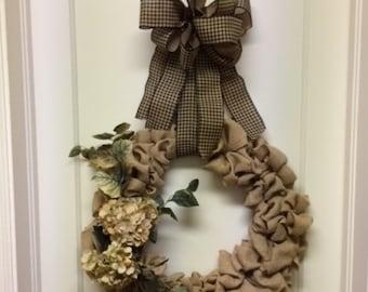 Sale! - Burlap Wreath -  Hydrangea Wreath – Autumn Wreath- All Season Wreath