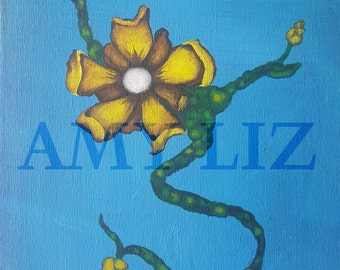 Small 8x10 Acrylic  Yellow Flower Painting