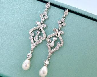 Pearl Drop Bridal Earrings. Pearl Crystal Cubic Zirconia Chandelier Bridal Earrings. Wedding Earrings. Wedding Jewelry. Bridesmaid Earrings.