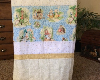 Baby Boy or Baby Girl Quilt, Soft and Warm, Baby Shower Gift-Beatrix Potter Bunnies, Pigs, and Geese-Free Shipping