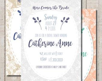 Printable Custom Lace Bridal Shower Invite (multiple color options)