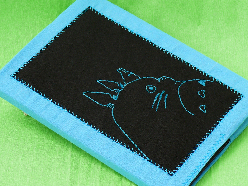 Fabric Book Covers Etsy ~ Book cover totoro upcycled fabric journal